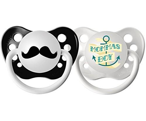 2-Pack Momma's Boy and Mustache Pacifier