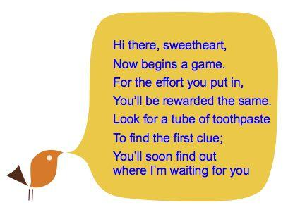 Romantic treasure hunt clues for him
