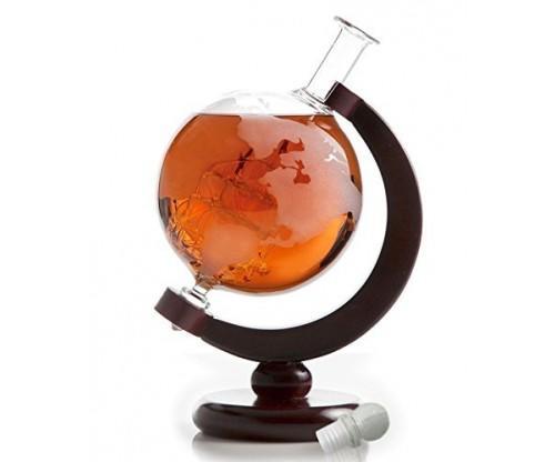The Wine Savant World Globe Decanter with Antique Ship
