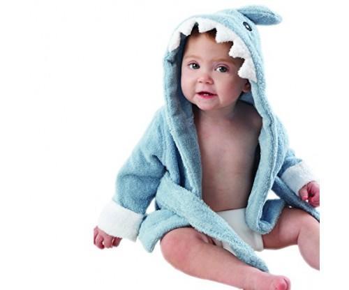 "Baby Aspen ""Let the Fin Begin"" Blue Terry Shark Robe"