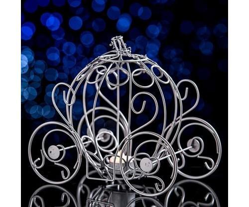 Silver Fairytale Carriage Centerpiece
