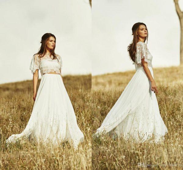 crop top 2 piece wedding dress