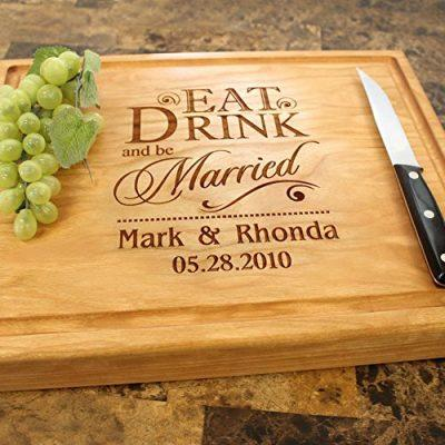 Eat Drink and be Married Personalized Engraved Chopping Block