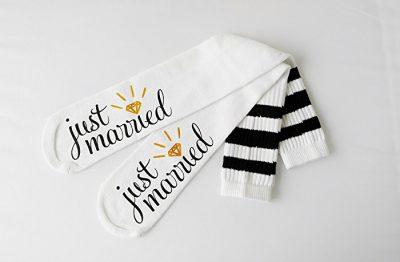 Just Married Bride Socks