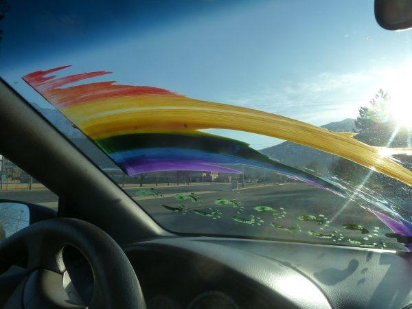 rainbow windshiled prank