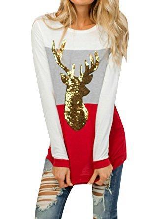 Nailyhome Sequin Deer Sweater Top