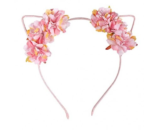 Fabric Flower Cat Ear Headband In Pink