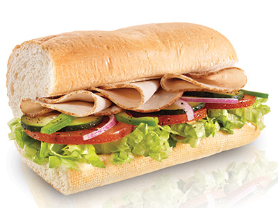 6 inch turkey sub calories