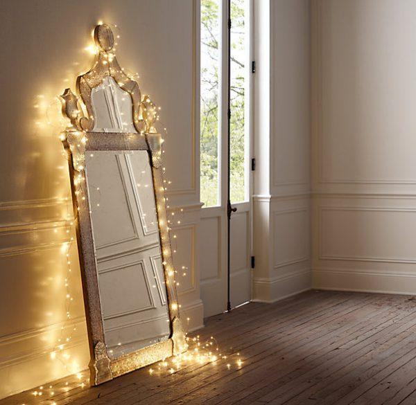 mirror and christmas lights
