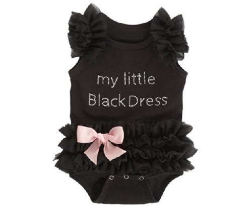 Ganz Baby Girls Embroidered Little Black Dress Bodysuit