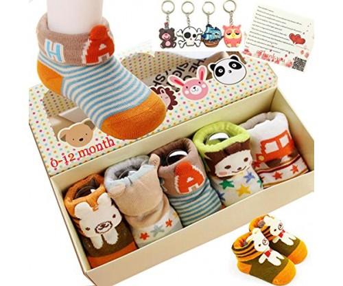 Fly-love® 5pairs Animal Non-Skid Slip Toddler Socks