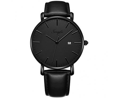 SONGDU Men's Ultra-Thin Quartz Analog Date Wrist Watch