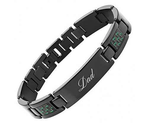 DAD Titanium Bracelet Engraved Love You Dad Carbon