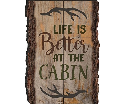 Life Is Better At The Cabin Antlers Rustic Bark Look Wood Sign Magnet