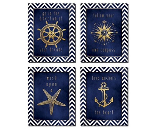 Beautiful Gold and Blue Chevron Inspirational Nautical Prints