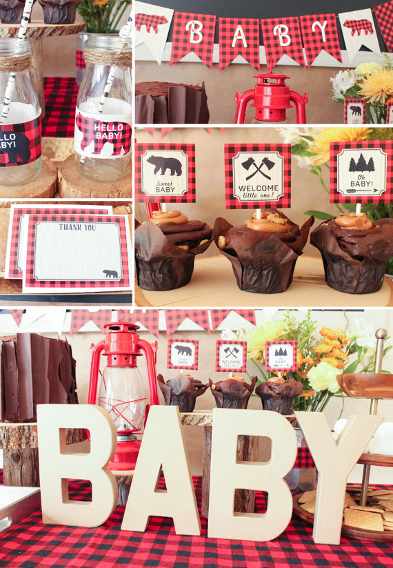 lumberhack plaid baby shower theme