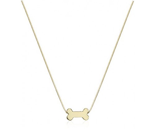 14k Yellow Gold Floating Miniature Dog Bone Pendant