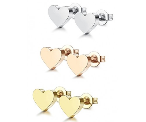 ORAZIO 1-6 Pairs Stainless Steel Heart Stud Earrings