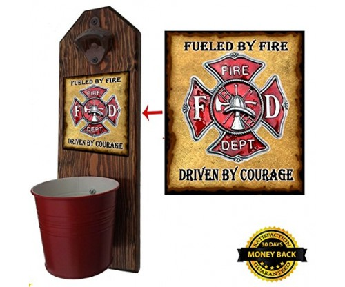 Firefighter Bottle Opener and Cap Catcher