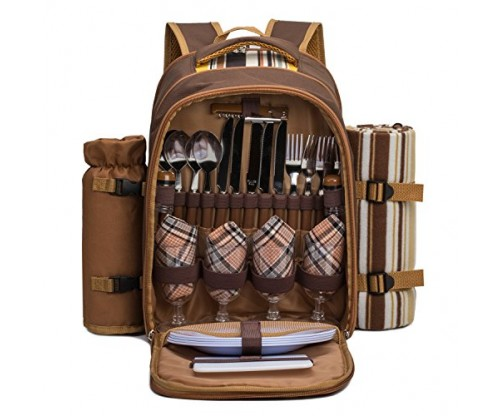 TAWA Picnic Backpack Bag for 4 Persons With Cooler Compartment
