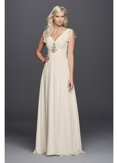 V-Neck Flutter Sleeve Embellished Wedding Dress
