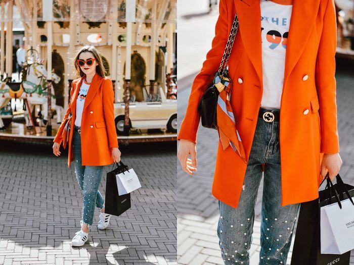 orange sunglasses with denim