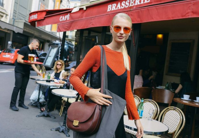styling orange sunglasses