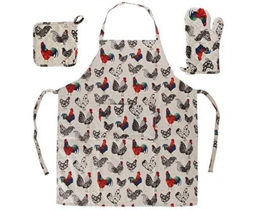 Home-X 3 Piece Rooster Kitchen Linen Set