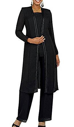 Fitty Lell Women's Chiffon Pant Suits Plus Size 3 Pieces Long Sleeves Mother The Bride Dress