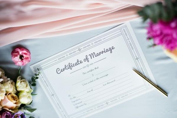 Framed Wedding Certificate
