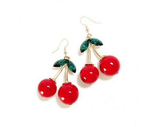 XCFS 18K Gold Plated Cherry Vintage Earrings