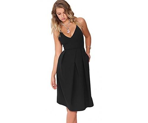 Eliacher Women's Deep V Neck Adjustable Dress