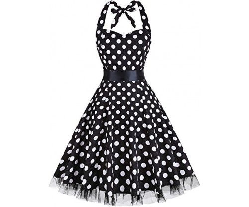 OTEN Women's Vintage Polka Dot Halter Dress