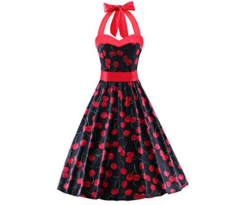 V fashion Women's Vintage 1950s Halter Neck Polka Dot Dress