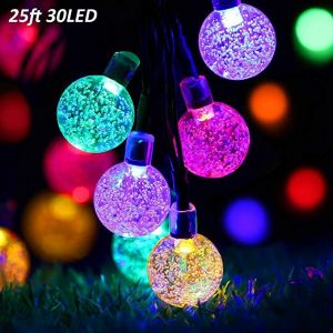 T-SUN 25ft 30LEDs Outdoor Solar String Lights