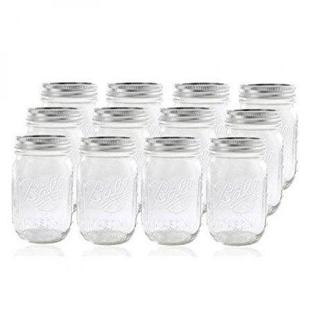 12 Ball Mason Jar with Lid - Regular Mouth - 16 oz
