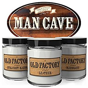 Old Factory Scented Candles - Man Cave - Set of 3: Straight Razor, Leather, and Mahogany