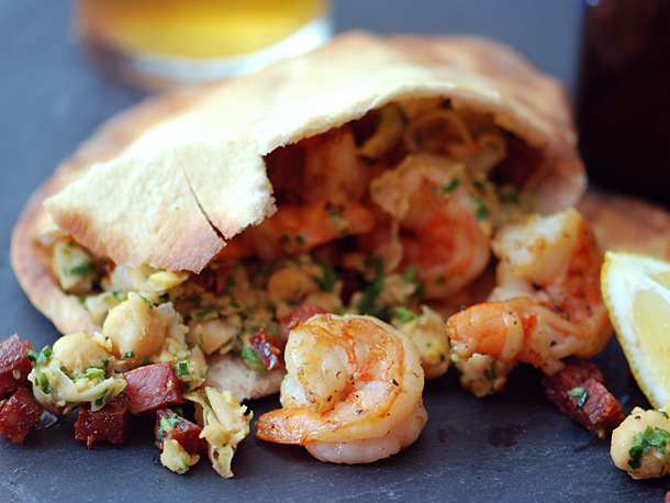 Shrimp and Kale Pitas