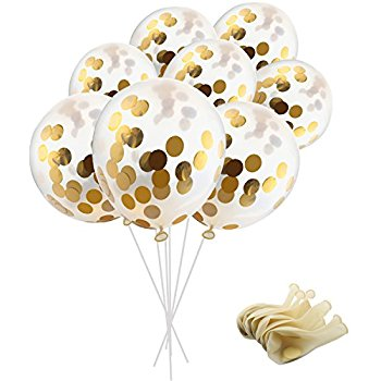 Gold Confetti Balloons