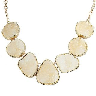 Jane Stone Fashion Drusy Stone Bead Statement Necklace Bib Choker Sparkly Jewelry