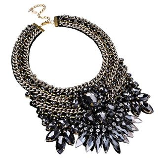 Jerollin Fashion Gold Tone Chain Glass Crystal Charm Chunky Choker Statement Bib Necklace