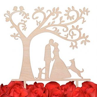 LOVENJOY Gift Box Pack Bride and Groom with Dog and Cat Silhouette Tree Wedding Engagement Cake Topper