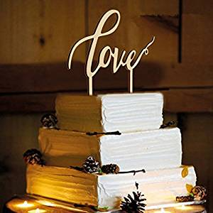 LOVENJOY with Gift Box LOVE Monogram Wedding Engagement Cake Topper Rustic Wood (6.7-inch) (Updated)