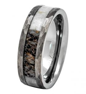 PCH Jewelers Deer Antler Ring in Tungsten Hammered Finish 8mm Comfort Fit Wedding Band
