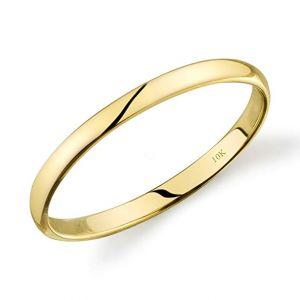 Tesori & Co 10k Yellow or White or Rose Gold Light Comfort Fit 2mm Plain Wedding Band