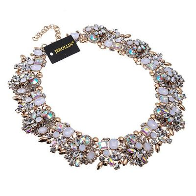 erollin Vintage Gold Tone Chain Multi-Color Glass Crystal Collar Choker Statement Bib Necklace