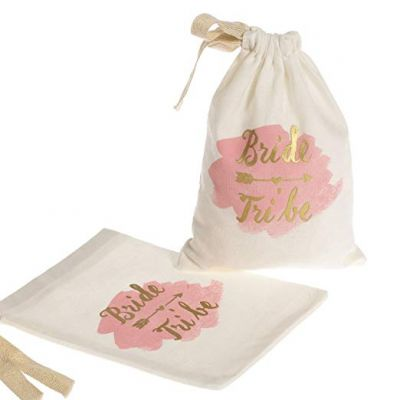 "Ling's Moment 10pcs 5""x7"" Gold Foil Bride Tribe Bridesmaid Gift Bags w/Pink Watercolor"