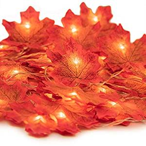 amBer Fall Maple Leaf Garland 20 LED Maple Leaves Fairy Lights 8.2 Feet Fall Garland Lights Waterproof Maple Leaf String Lights 3AA Battery Powered Lighted Garland for Party Thanksgiving Decor