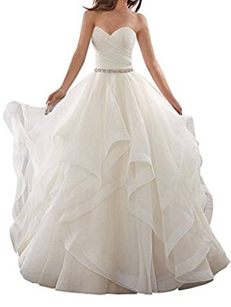 APXPF Women's Organza Ruffles Ball Gown Wedding Dresses