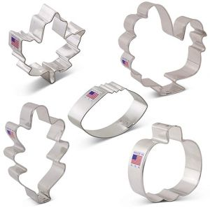 Fall Thanksgiving Cookie Cutter Set with Recipe Book - 5 Piece - Maple Leaf, Turkey, Oak Leaf, Pumpkin, Football - Ann Clark - USA Made Steel